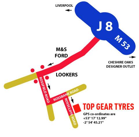 Find us Top Gear Tyres Malpas