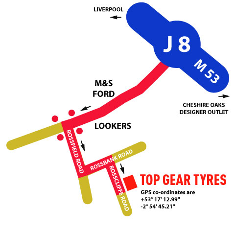 Find us Top Gear Tyres Malpas